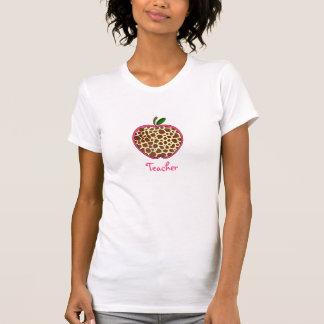 Teacher T Shirt - Giraffe Print Apple