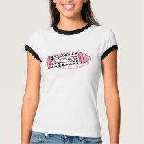 Teacher T Shirt- Pink Polka Dot Crayon T-Shirt