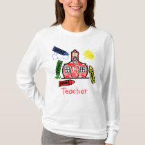 Teacher T Shirt - Schoolhouse and Crayons