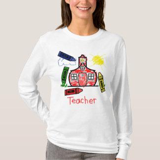 Teacher T Shirt - Schoolhouse and Crayons