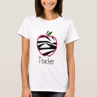 Teacher T Shirt - Zebra Print Apple
