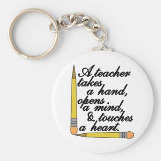 Teacher Takes Basic Round Button Keychain