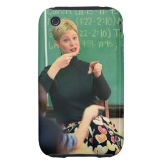 Teacher talking and pointing at front of tough iPhone 3 case