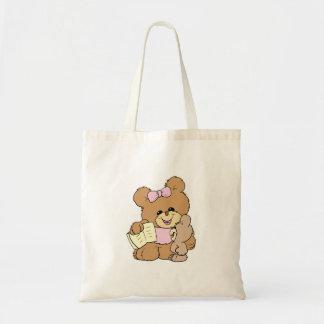 teacher teaching baby teddy bear design tote bags