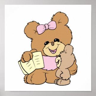teacher teaching baby teddy bear design poster