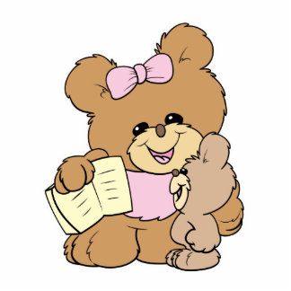 teacher teaching baby teddy bear design statuette
