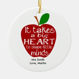 Teacher thank you apple Circle Ornament