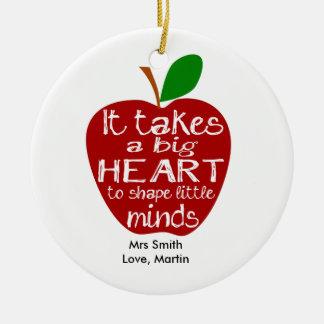 Teacher thank you apple Circle Ornament