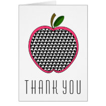 Teacher Thank You Card - Houndstooth Apple