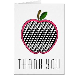 Teacher Thank You Card - Houndstooth Apple