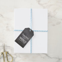 Teacher thank you chalkboard typography quote gift tags