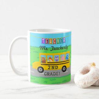 Teacher Thank You Custom Name   Cute Bus Animals Coffee Mug