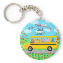 Teacher Thank You Custom Name | Cute Bus Animals Keychain