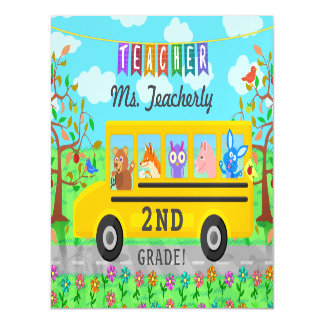 Teacher Thank You Custom Name | Cute Bus Animals Magnetic Card