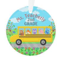 Teacher Thank You Custom Name | Cute Bus Animals Ornament