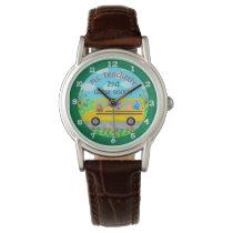Teacher Thank You Custom Name | Cute Bus Animals Wrist Watch