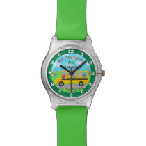 Teacher Thank You Custom Name | Cute Bus Animals Wrist Watch