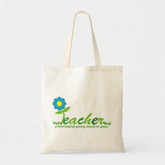 teacher THANK YOU daisy gift tote BLUE Budget Tote Bag