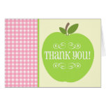 Teacher Thank You Green Apple Pink Gingham Greeting Card