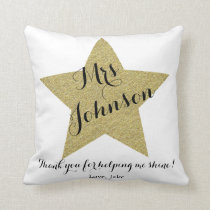 Teacher Thank you pillow gold star