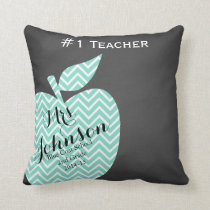 Teacher Thank you pillow star chevron chalk teal