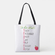 Teacher To do List Apple Watercolor Typography Tote Bag