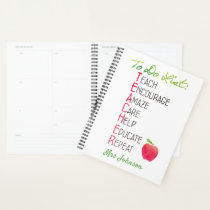 Teacher To Do List Personalized Watercolor Apple Planner