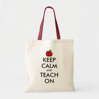 Teacher tote bag | Red apple keep calm & teach on