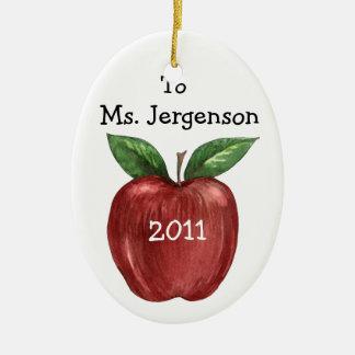 Teacher Treats Double-Sided Oval Ceramic Christmas Ornament