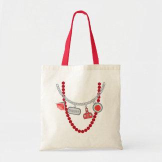 Teacher Trompe L'Oeil Charm Necklace & Beads Budget Tote Bag