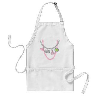 Teacher Trompe L'Oeil Charm Necklace & Pink Pearls Adult Apron