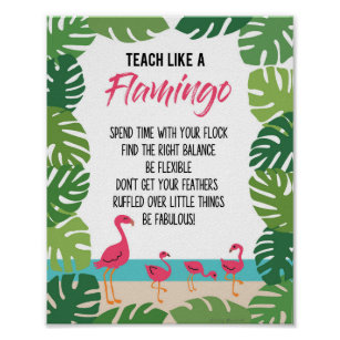 a8832897ccf2dd Teacher Tropical Classroom Teach Like A Flamingo Poster