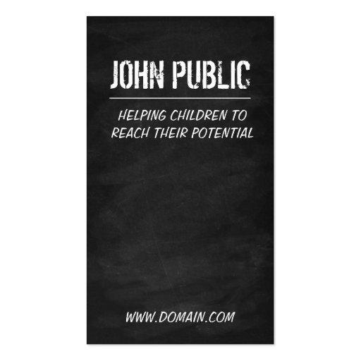 Teacher Tutor Chalkboard Business Card (back side)