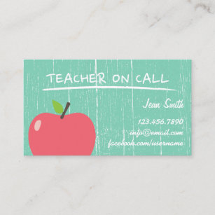 Apple business cards zazzle teacher tutor rustic green wood big apple business card colourmoves