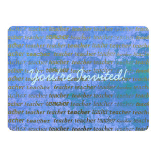 Teacher Typography Blue Abstract Floral Invitation
