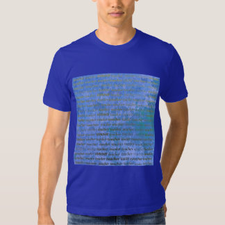 Teacher Typography Blue Abstract Floral T-Shirt