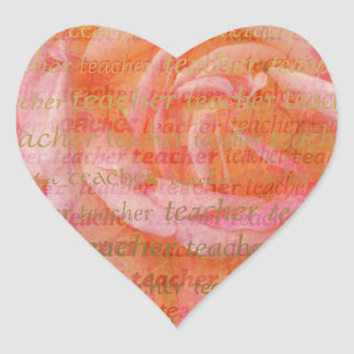 Teacher Typography  Large Rose 1 Heart Sticker