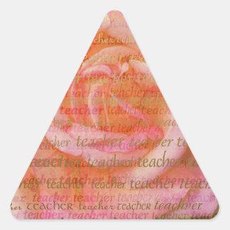 Teacher Typography  Large Rose 1 Triangle Sticker