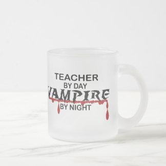 Teacher Vampire by Night Frosted Glass Coffee Mug