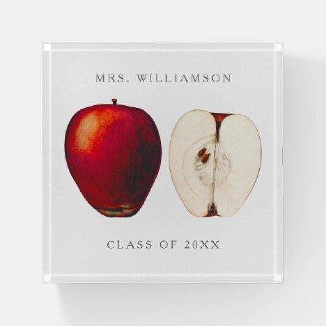 Teacher Vintage Apple Monogram Name Paperweight