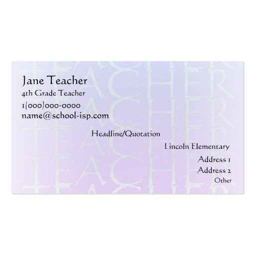 Teacher Violet Blue Business Profile Card Template Business Card Templates