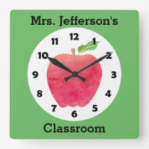 Teacher Watercolor Apple Personalized Green Class Square Wall Clock