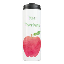 Teacher Watercolor Apple Personalized Pretty Thermal Tumbler