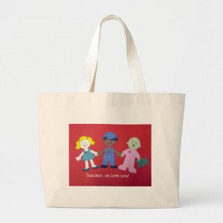 Teacher we love you! large tote bag