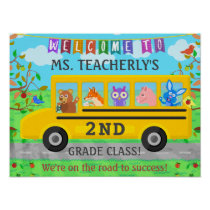 Teacher Welcome Sign for Classroom Cute Animal Bus