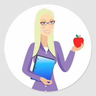 Teacher with Apple Classic Round Sticker
