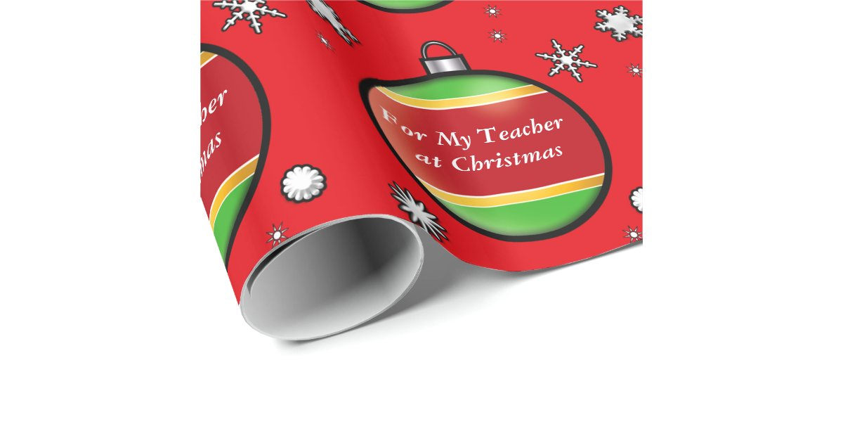 Teacher With Decorative Christmas Tree Ball Red Wrapping