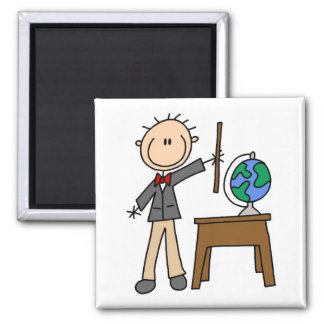 Teacher With Globe 2 Inch Square Magnet
