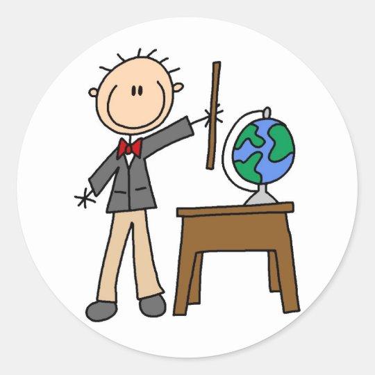 Teacher With Globe Classic Round Sticker