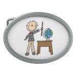 Teacher With Globe Oval Belt Buckle